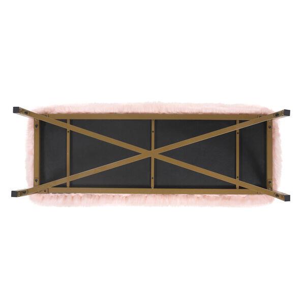 Faux Fur Rectangle Bench - Pink, image 6