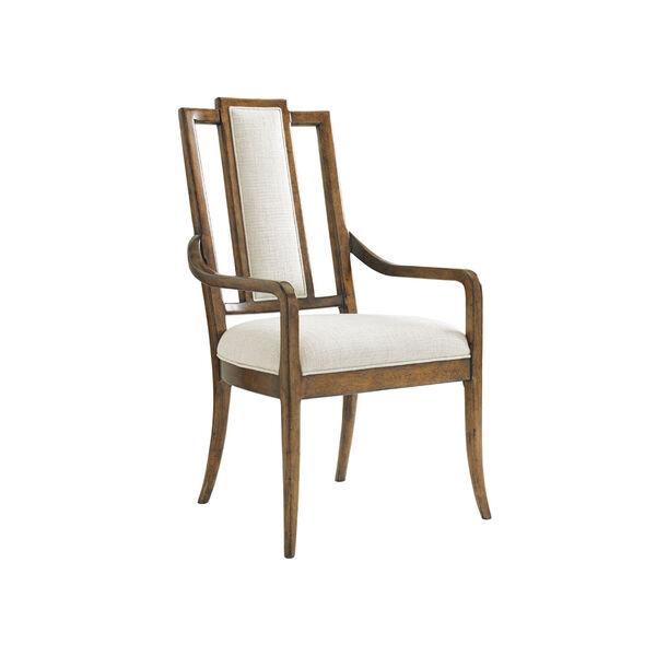 Bali Hai Brown and Ivory St. Barts Splat Back Arm Chair, image 1