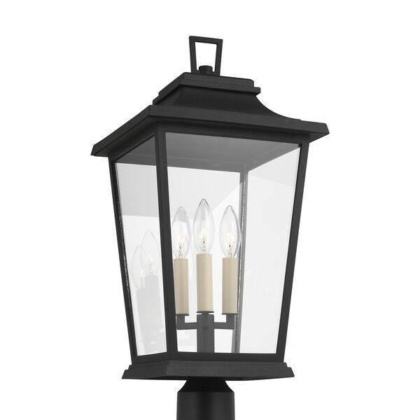 Warren Textured Black Three-Light Outdoor Post Lantern, image 2