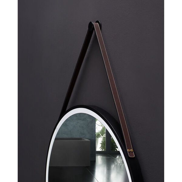 Sangle Black 30-Inch Round LED Framed Mirror with Defogger and Vegan Leather Strap, image 5
