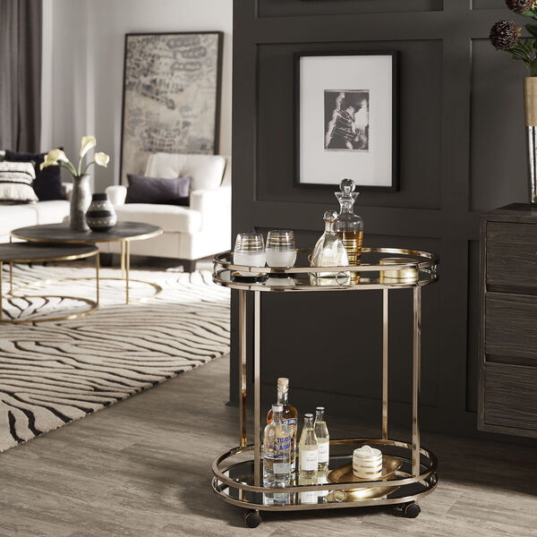 Lissa Champagne Gold Oval Bar Cart, image 6