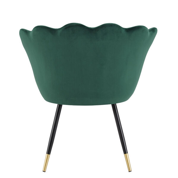 Stella Green Velvet Seashell Armless Chair with Black and Gold Leg, image 4