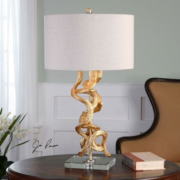 Bright Gold Twisted Vines One-Light Table Lamp, image 2