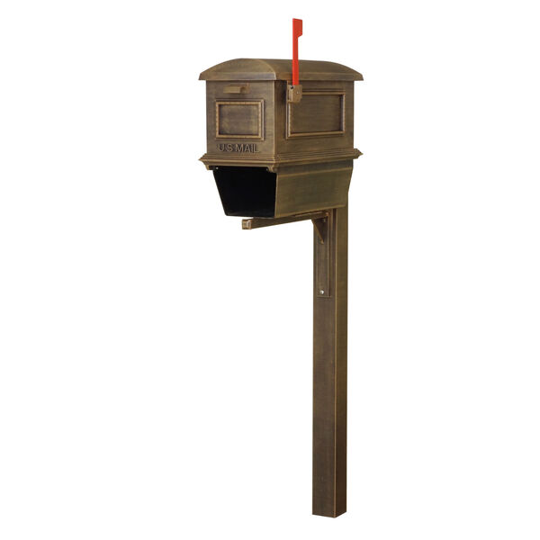 Curbside Copper Mailbox with Newspaper Tube and Wellington Mailbox Post, image 2