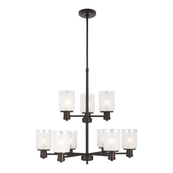 Norwood Bronze Nine-Light Chandelier with Clear Highlighted Satin Etched Shade, image 1