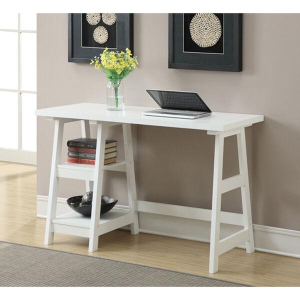 Designs2Go White Trestle Desk, image 1