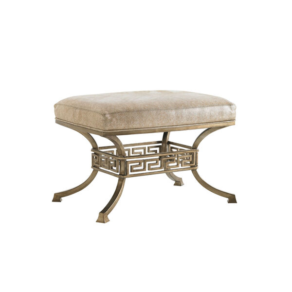 Tower Place Gold and Beige Beldon Leather Ottoman, image 1