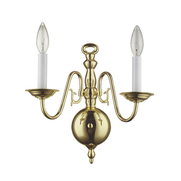 Williamsburgh Polished Brass Two-Light Wall Sconce, image 5