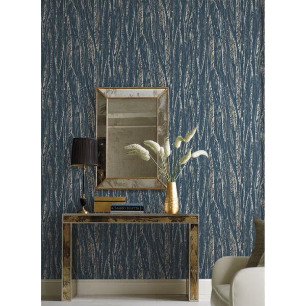 Antonina Vella Elegant Earth Navy Native Leaves Bohemian Wallpaper, image 4