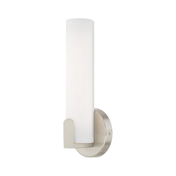 Lund Brushed Nickel 4-Inch ADA Wall Sconce with Satin White Acrylic Shade, image 1