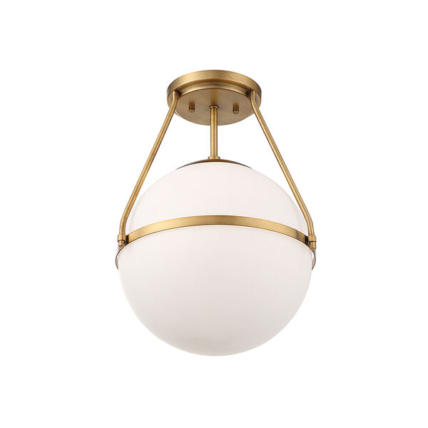 Nicollet Natural Brass One-Light Semi Flush Mount with White Opal Glass, image 4