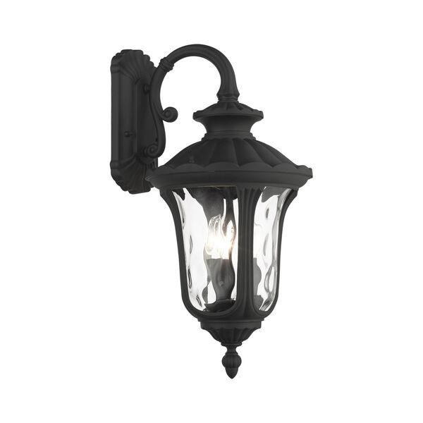 Oxford Textured Black 11-Inch Three-Light Outdoor Down Light Wall Lantern, image 1