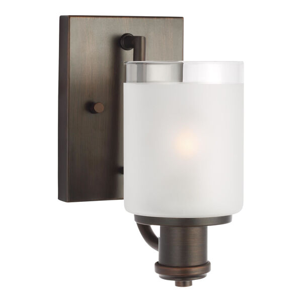 Norwood Bronze One-Light Bath Vanity with Clear Highlighted Satin Etched Shade, image 2