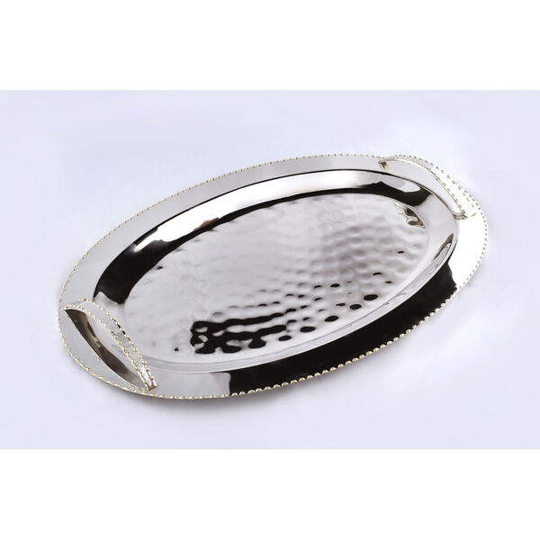 Nickel Gold Bead Oval Handle Tray, image 1