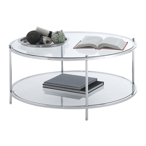 Royal Crest 2 Tier Round Glass Coffee Table in Clear Glass and Chrome Frame, image 5