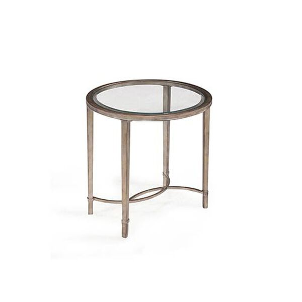 Copia Antique Silver and Metal Oval End Table, image 1