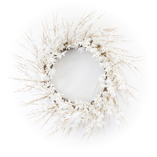 White and Brown 25-Inch Blossom Wreath, image 1