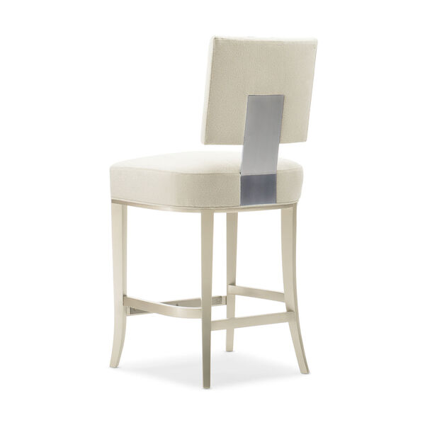 Caracole Classic Lightly Brushed Chrome and Beige Reserved Seating Counter Stool, image 3