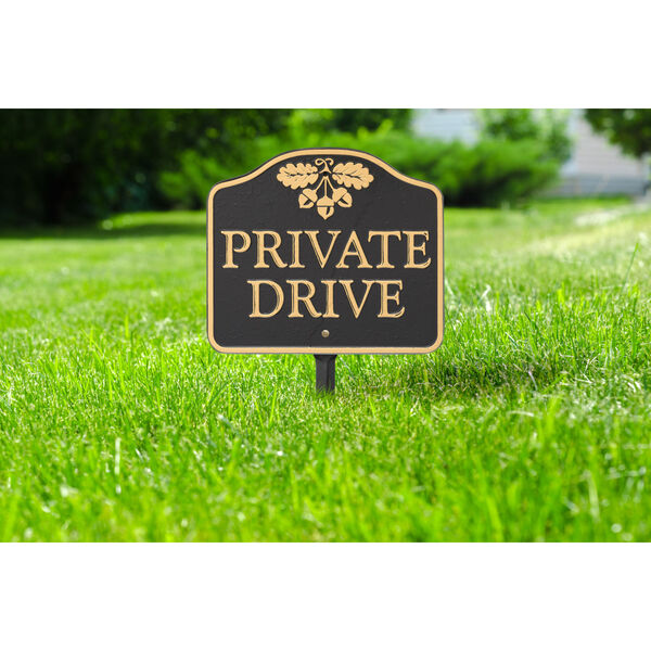 Black Gold Private Drive Sign  Cast Aluminum Wall or Lawn Mounting, image 1