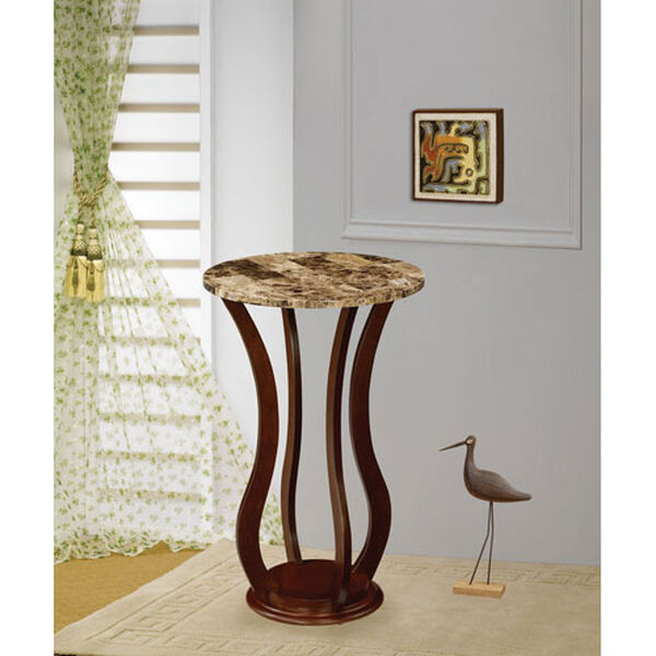 Cherry Round Marble Top Plant Stand, image 1