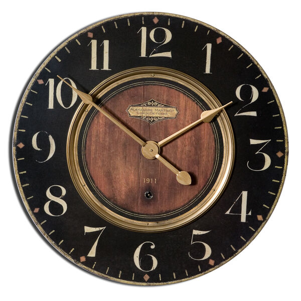 Alexandre Black and Woodtone 30-Inch Wall Clock, image 2