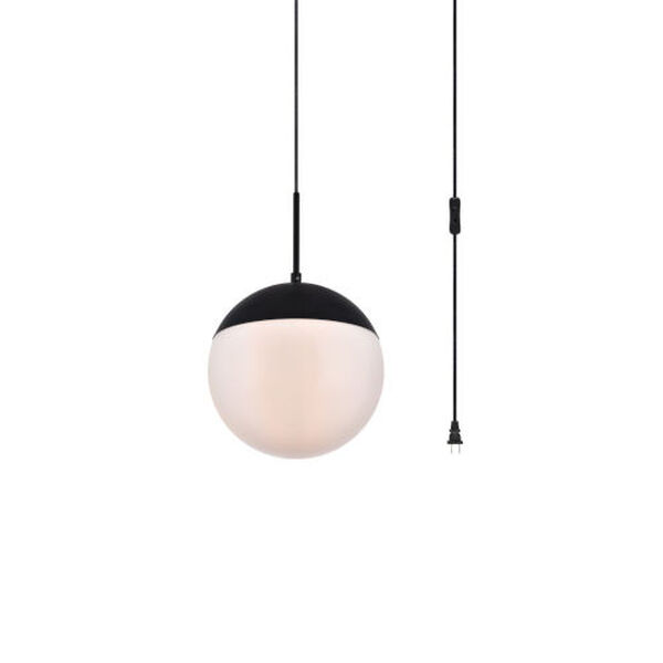 Eclipse Black and Frosted White 10-Inch One-Light Plug-In Pendant, image 3