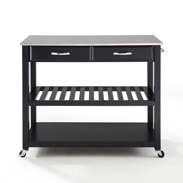 Stainless Steel Top Kitchen Cart/Island With Optional Stool Storage in Black Finish, image 3