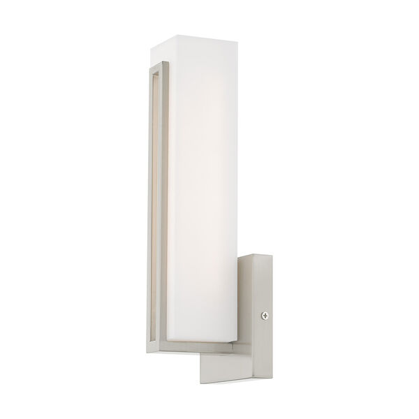 Fulton Brushed Nickel 4-Inch ADA Wall Sconce with Satin White Acrylic Shade, image 4