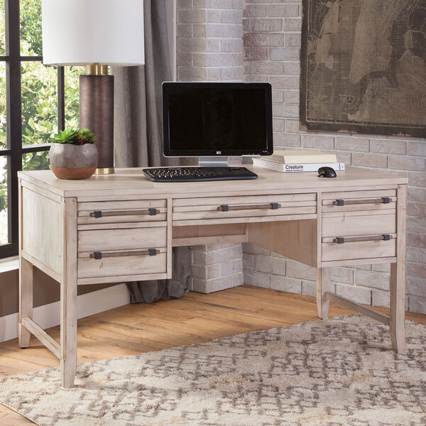 Aurora Whitewash 60-Inch Storage Desk, image 2
