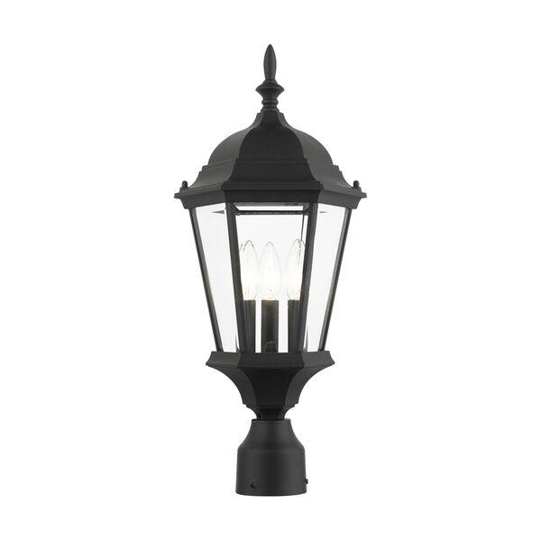 Hamilton Textured Black 10-Inch Three-Light Outdoor Post Lantern, image 1