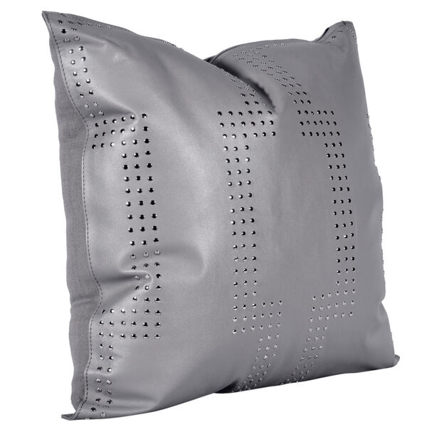 Gray 20 In. X 20 In. Geometric Studded Leather Throw Pillow, image 2