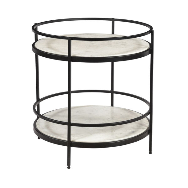 Black and White Round Accent Table, image 1