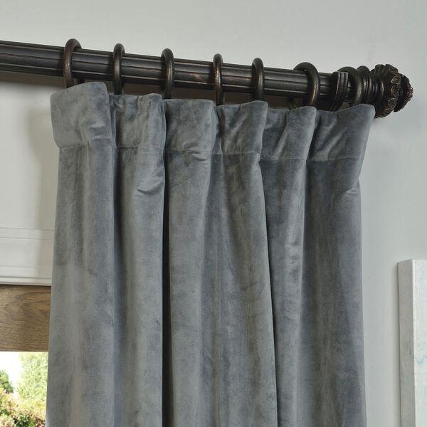 Natural Grey Blackout Velvet Pole Pocket Single Panel Curtain, 50 X 120, image 2