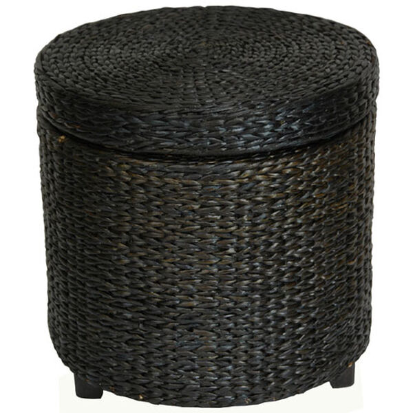 Rush Grass Storage Footstool Black, Width - 17.5 Inches, image 1