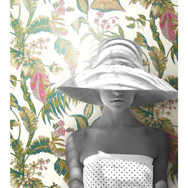 Ashford House Tropics White and Dark Green Fiji Garden Wallpaper, image 2