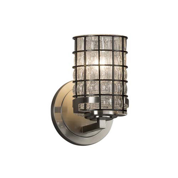 Wire Glass - Atlas Brushed Nickel One-Light Wall Sconce with Cylinder Flat Rim Grid with Clear Bubbles Shade, image 1