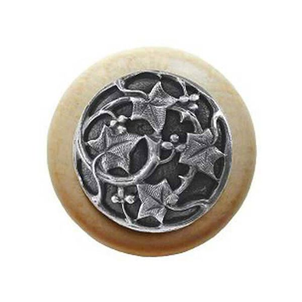 Natural Wood Ivy Knob with Antique Pewter, image 1