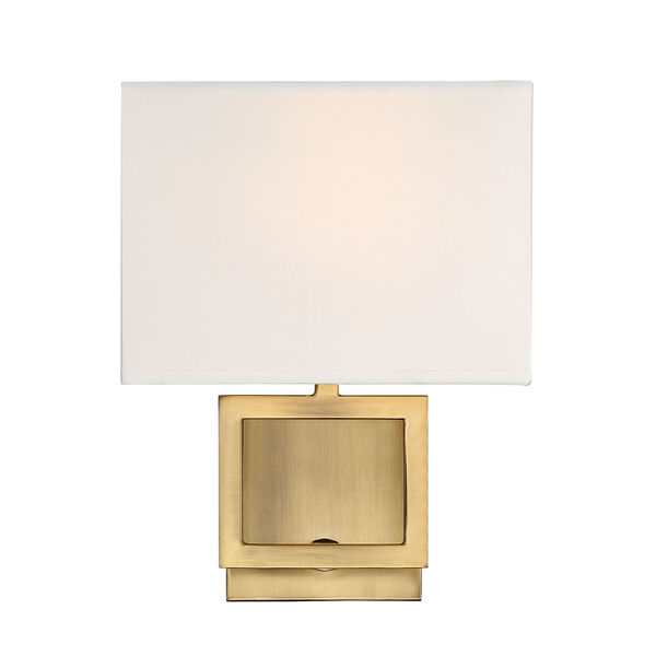 Uptown Natural Brass One-Light Wall Sconce with Square White Fabric Shade, image 1