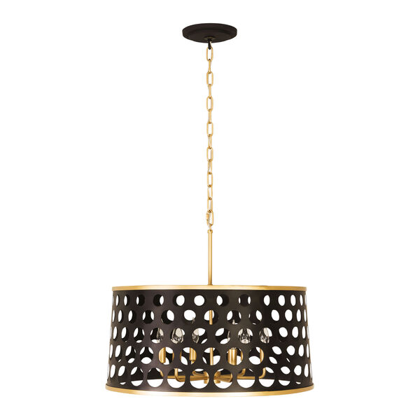 Bailey Matte Black French Gold 24-Inch Six-Light Pendant, image 6