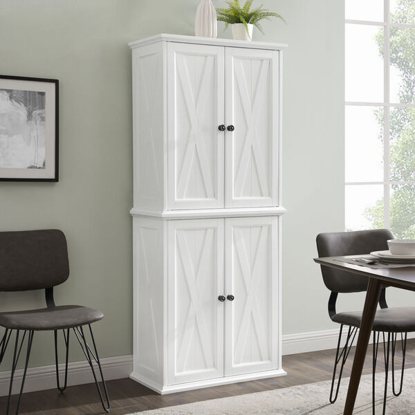 Clifton Distressed White Tall Kitchen Pantry, image 1