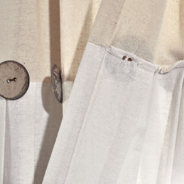 Linen Button Beige and Off White 40 x 63 In. Single Window Curtain Panel, image 5