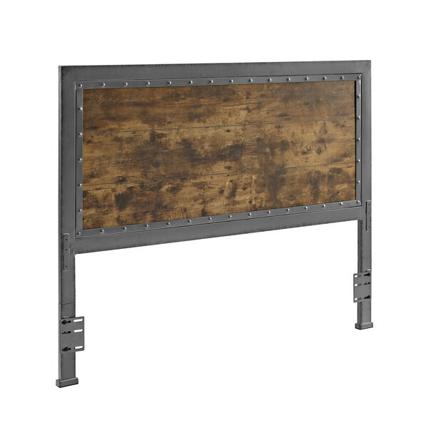 Queen Size Industrial Wood and Metal Panel Headboard - Brown, image 3