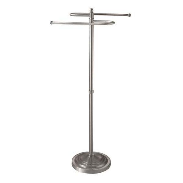 Satin Nickel Floor Standing S-Shaped Towel Rack - 38 Inches High, image 1