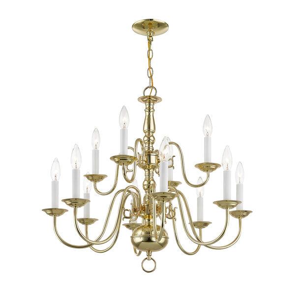 Williamsburgh Twelve-Light Polished Brass Chandelier, image 6