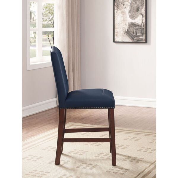 Carteret Navy Faux Leather Counter Stool, image 4