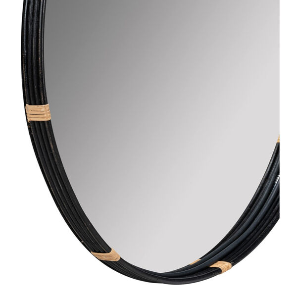 Evan Black and Natural Rattan 35-Inch x 35-Inch Wall Mirror, image 4