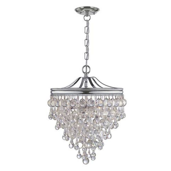 Hopewell Polished Chrome Three-Light Chandelier with Clear Crystal, image 1