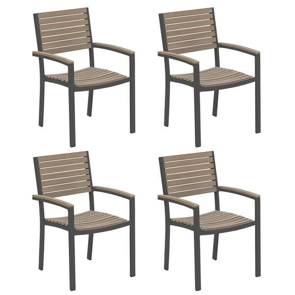 Travira Vintage Tekwood Seat and Carbon Powder Coated Aluminum Frame Armchair , Set of Four, image 1