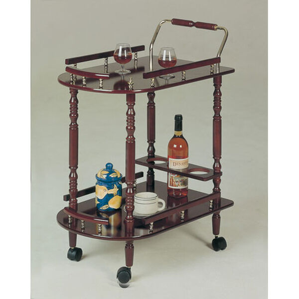 Serving Cart with Brass Accents, image 1