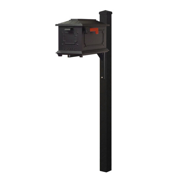Kingston Curbside Black Mailbox and Wellington Direct Burial Mailbox Post Smooth Square, image 1